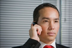 Business man with mobile hand cell phone Royalty Free Stock Photo