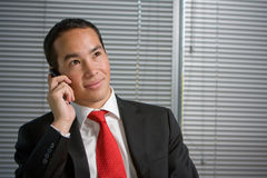Business man with mobile hand cell phone Royalty Free Stock Photos