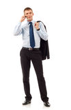 Business man with mobile phone. Portrait of business man with mobile phone. isolated on white background stock image