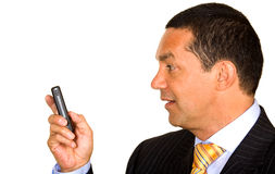 Business man with mobile phone Royalty Free Stock Images