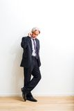 Business man with mobile phone royalty free stock photography