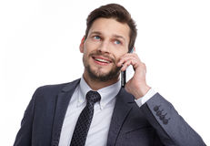 Business man with mobile phone Royalty Free Stock Photo