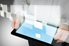 Business man with modern tablet pc Stock Photography