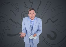 Business man with money against grey background and arrow graphics Royalty Free Stock Photos