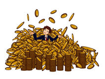 Businessman and Money rain Stock Images