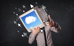 Business man with a monitor on his head, cloud system and pointe Stock Photography