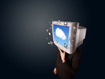 Business man with a monitor on his head, cloud system and pointe Stock Image