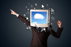 Business man with a monitor on his head, cloud system and pointe Royalty Free Stock Photography