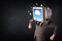 Business man with a monitor on his head, cloud system and pointe Stock Photos