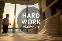 Business man morning. Motivational text stock photos