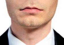 Business man mouth closeup Stock Images