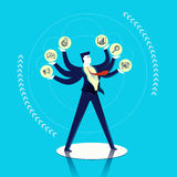 Business man multitask concept illustration. Business multitask concept illustration, executive man juggling different work skills as outline icons. Contemporary Stock Image