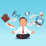 Business man multitasking, meditating, doing yoga royalty free illustration