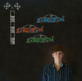 Business man Nascar racing car fan on blackboard background Royalty Free Stock Photo