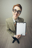 Business man nerd holds a blank sign Stock Photography
