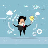 Business Man New Idea Concept Hold Light Bulb Royalty Free Stock Photography