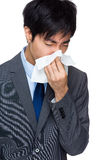 Business man with nose allergy Royalty Free Stock Image