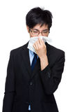 Business man with nose allergy Royalty Free Stock Photos
