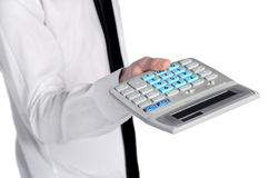Business man offer calculator Stock Images