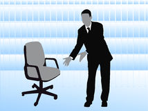Business man offering empty chair Stock Photo