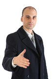 Business man offering a handshake. Isolated on whi Royalty Free Stock Image