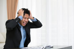 Business man in office with burnout syndrome Stock Photography