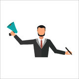 Business man office job stress work vector illustration flat style person manager character Stock Photography
