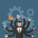 Business man office job stress work vector illustration flat style person manager character Stock Images