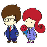 Business man and office lady cartoon. Young cute business man and office lady in formal uniform cartoon illustration royalty free illustration