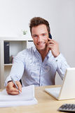 Business man in office making cell Royalty Free Stock Photography