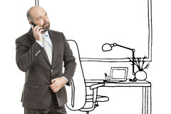 Business man office sketch Royalty Free Stock Photo