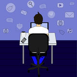 Business man or office worker sitting on a chair at the desk in the office,back view, flat design, cartoon stock  illustrati. Business man or office worker Stock Photo