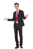 Business man with open arms to welcome you Stock Image