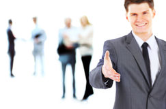 A business man with an open hand ready Royalty Free Stock Photo