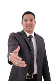 Business man with an open hand Stock Images