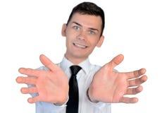 Business man open hands Stock Photos