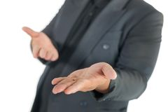 Business man with open hands on white. Background Stock Photo
