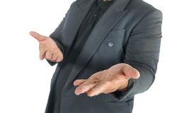 Business man with open hands on white. Background Stock Photography