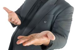 Business man with open hands on white. Background Royalty Free Stock Image