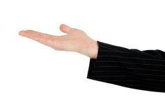 Business man with open stretched hand Royalty Free Stock Photography