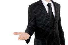 Business man with open stretched hand stock photos