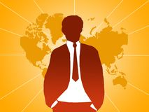 Business man at orange map Royalty Free Stock Photography