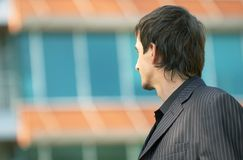 Business Man Outside Looking In Royalty Free Stock Photo