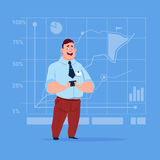 Business Man Over Finance Chart Graph Background Cartoon Businessman. Flat Vector Illustration Stock Photo