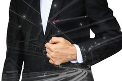 Business man overlay by modern architecture Royalty Free Stock Photos
