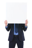 Business man with pannel in front of face Royalty Free Stock Photography