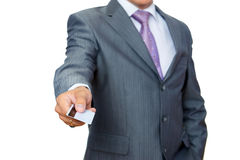 Business man with pastic card in hand Stock Images