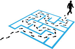 Business man path footprints solution puzzle