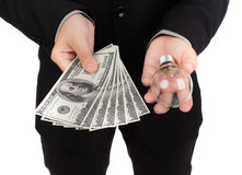 Business man pay money Stock Photography