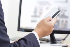 Business Man Paying Online Stock Photo